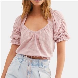FREE PEOPLE DOROTHY FAWN PINK CROP TOP BLOUSE